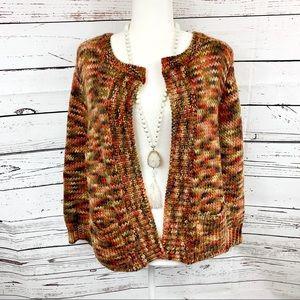 Ruby Rd Earth Tone Wool Woven Sweater Cardigan